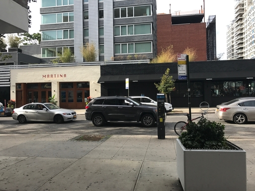 a car parked on a city street