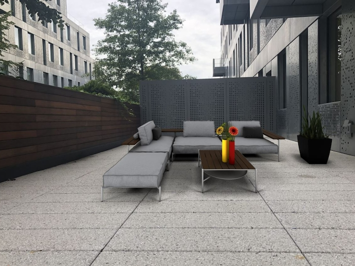 a bench in front of a building