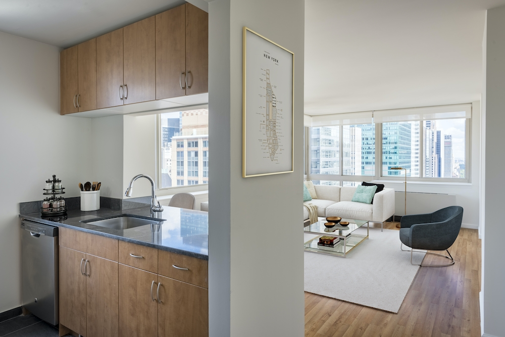 Atlas New York: 8J a kitchen with a sink and a window