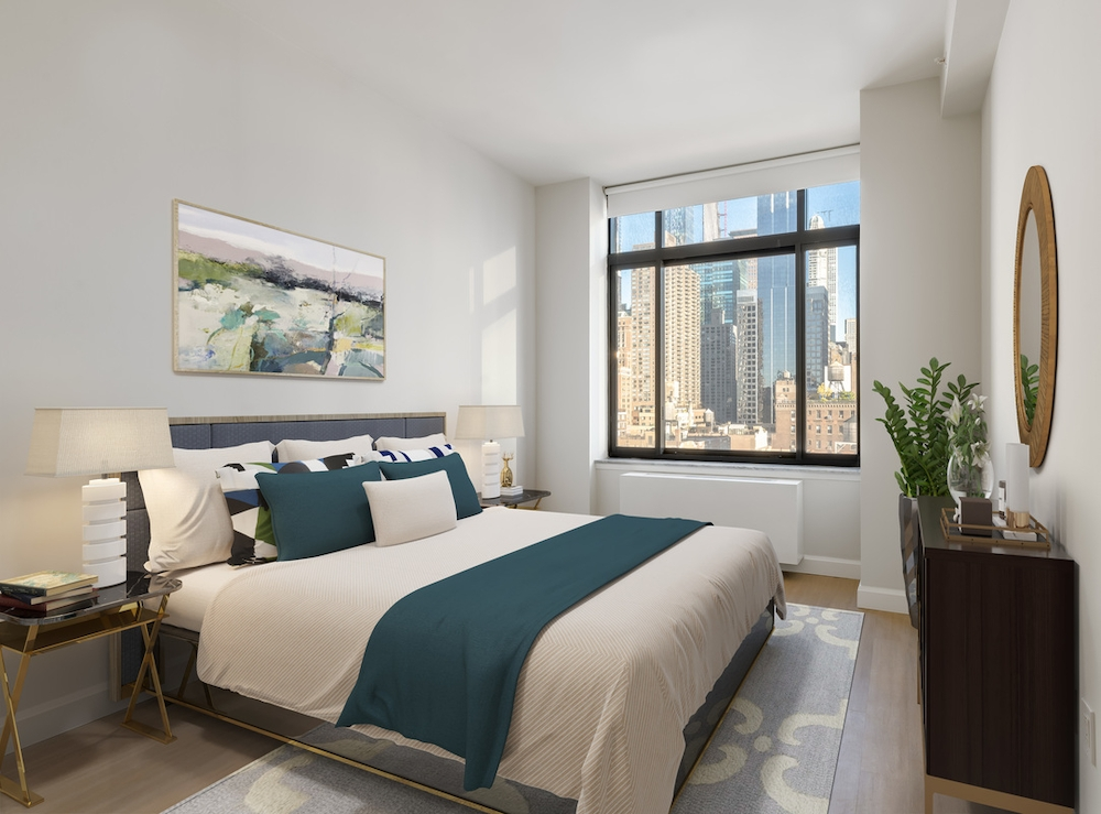 Atlas New York: 31F a bedroom with a large bed in a room
