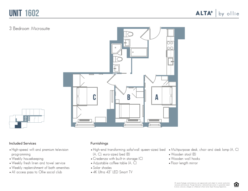 Floorplan of Lux unit 1602 (3 bed, 2 bath)