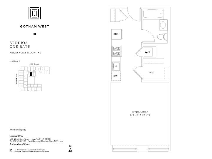 Gotham West #302 Floorplan