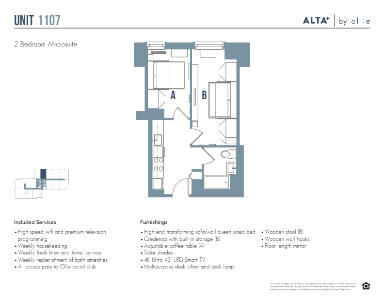 Floorplan of Lux unit 1107 (2 bed, 1 bath)