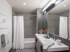 Thumbnail of The Ashland: 48J a shower that has a sink and a mirror