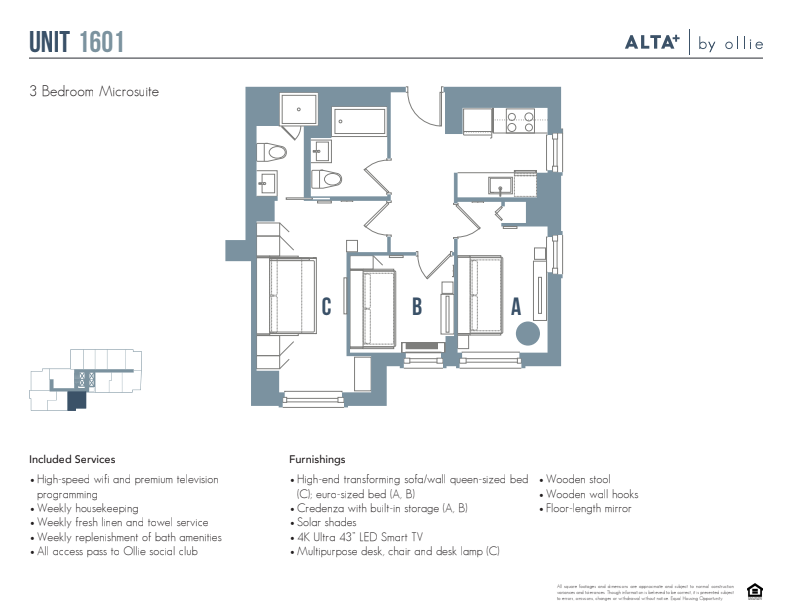 Floorplan of Lux unit 1601 (3 bed, 2 bath)