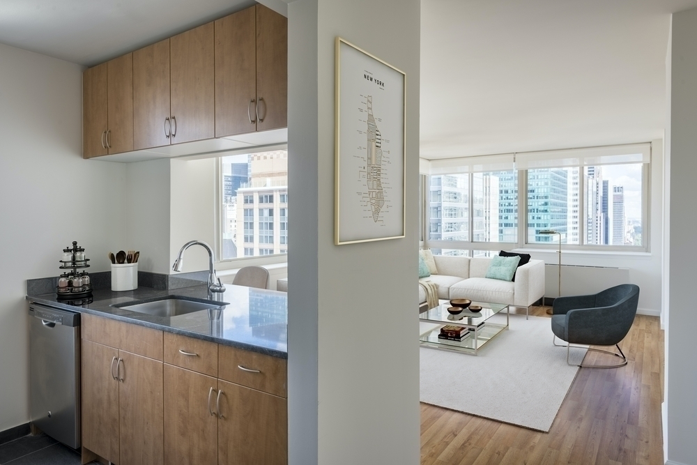 Atlas New York: 39F a kitchen with a sink and a window