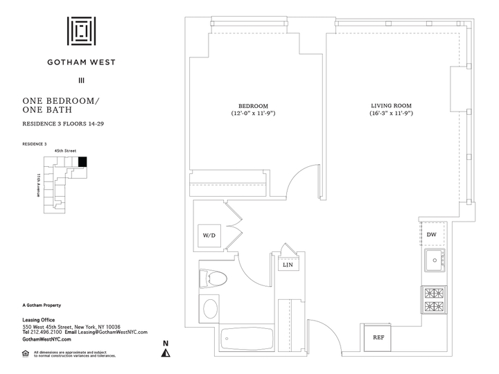 Gotham West #1403 Floorplan