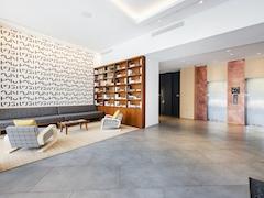 a room with a tiled floor