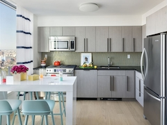Thumbnail of The Ashland: 44F a modern kitchen with stainless steel appliances