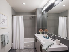 Thumbnail of The Ashland: 46J a shower that has a sink and a mirror