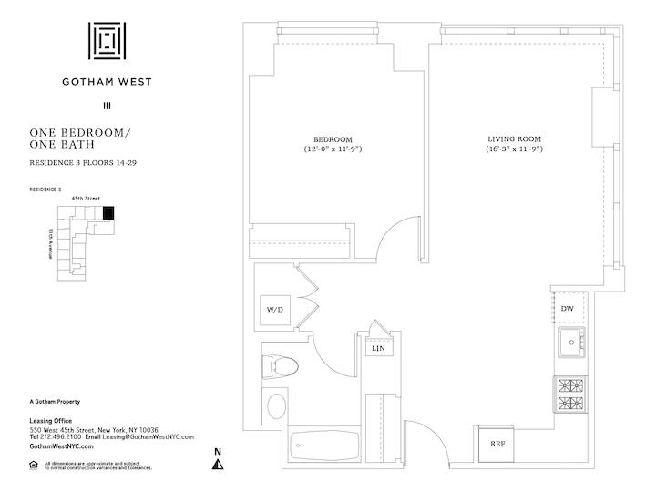Gotham West #1503 Floorplan