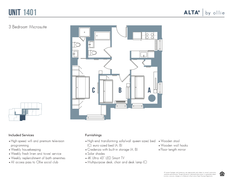Floorplan of Lux unit 1401 (3 bed, 2 bath)