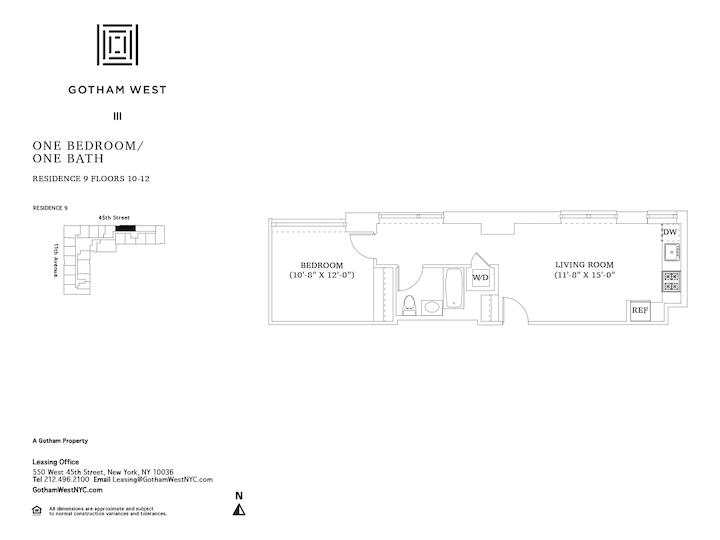 Gotham West #1009 Floorplan