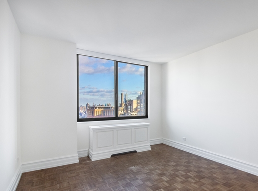 a living room with a large window